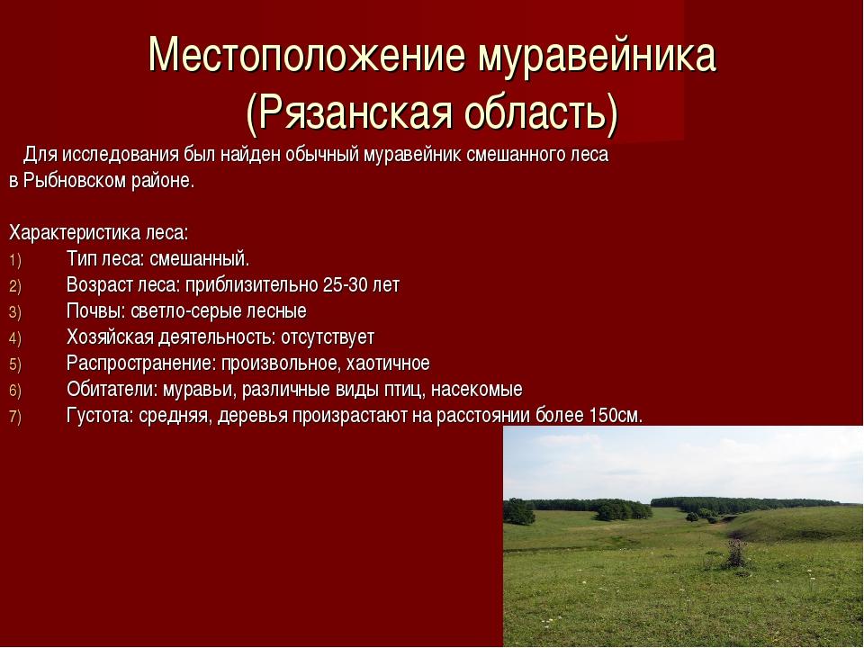 Местоположение муравейника (Рязанская область) Для исследования был найден об...