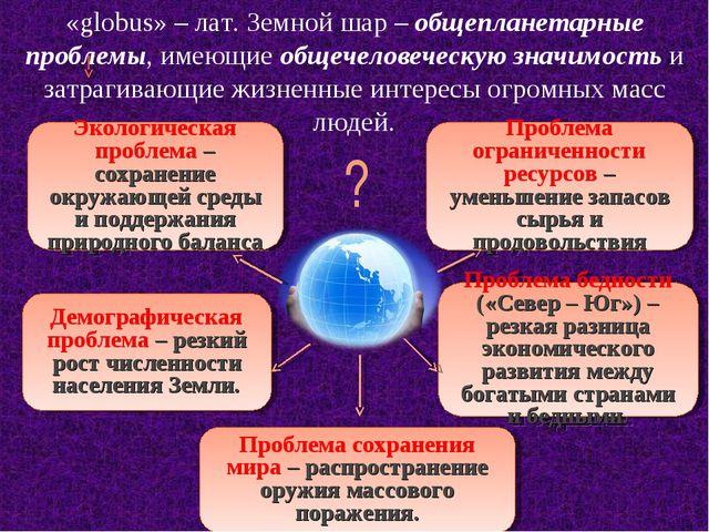 «globus» – лат. Земной шар – общепланетарные проблемы, имеющие общечеловеческ...