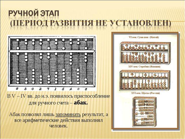 В V – IV вв. до н.э. появилось приспособление для ручного счета – абак. Абак...