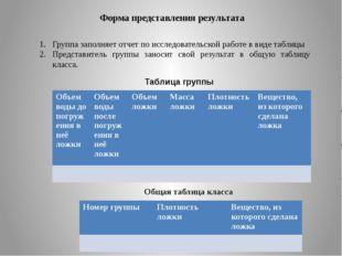 Форма представления результата Группа заполняет отчет по исследовательской ра