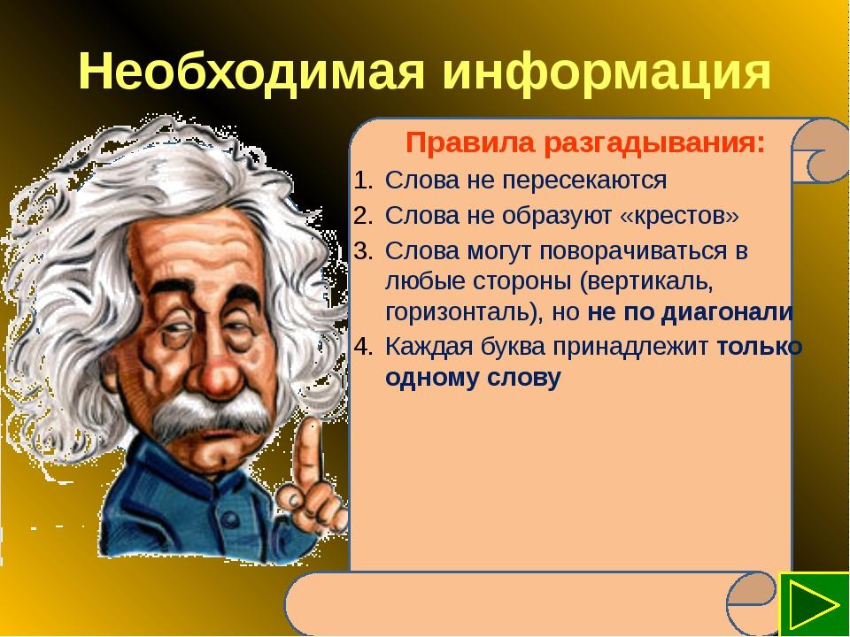 Необходимая информация Правила разгадывания: Слова не пересекаются Слова не о...