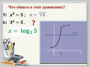 Что общего в этих уравнениях? 5) 6) ? Y x 0 y = 5 ?