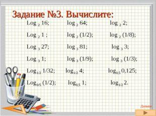 Log 2 16; log 2 64; log 2 2; Log 2 1 ; log 2 (1/2); log 2 (1/8); Log 3 27; lo