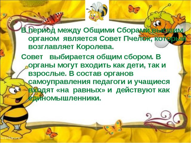 В период между Общими Сборами высшим органом является Совет Пчелок, который в...