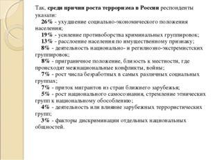 Так, среди причин роста терроризма в России респонденты указали: 26% - у