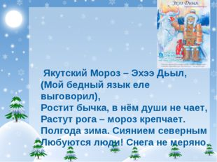 Якутский Мороз–Эхээ Дьыл, (Мой бедный язык еле выговорил), Ростит бычка, в