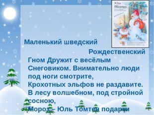 Маленький шведский Рождественский Гном Дружит с весёлым Снеговиком. Внимател