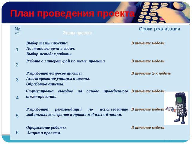 План проведения проекта № п/п Этапы проекта Сроки реализации 1 Выбор темыпро...