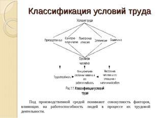 Классификация условий труда Под производственной средой понимают совокупность