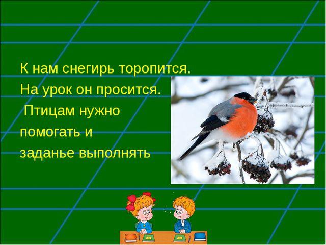 К нам снегирь торопится. На урок он просится. Птицам нужно помогать и заданье...