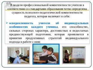 В модели профессиональной компетентности учителя в соответствии со стандартам