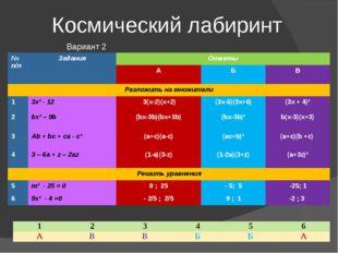 Космический лабиринт Вариант 2 №п/п Задания Ответы А Б В Разложитьнамножители
