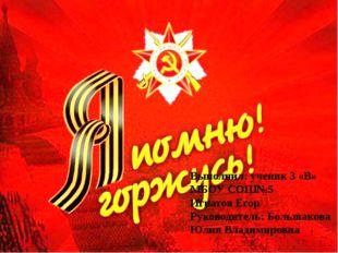 Выполнил: ученик 3 «В» МБОУ СОШ№5 Игнатов Егор Руководитель: Большакова Юлия