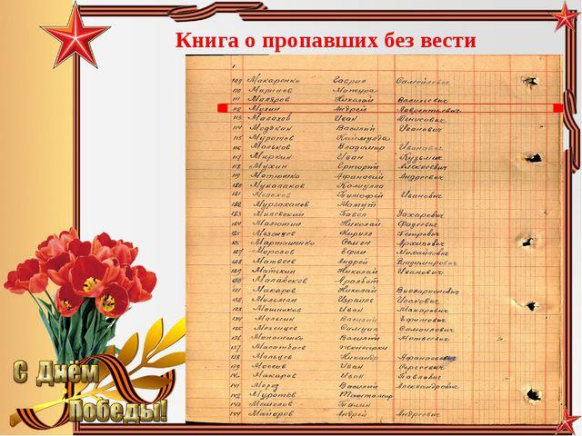 Книга о пропавших без вести Педагог-библиотекарь МБОУ СОШ№5 Большакова Юлия В...