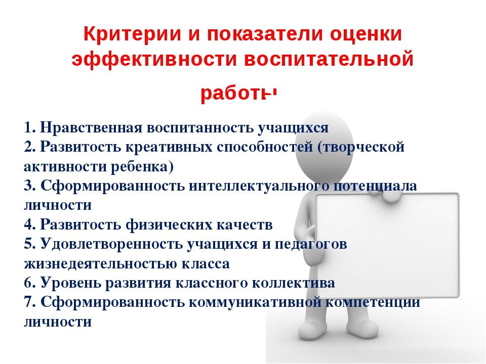 Критерии и показатели оценки эффективности воспитательной работы. 1. Нравстве...