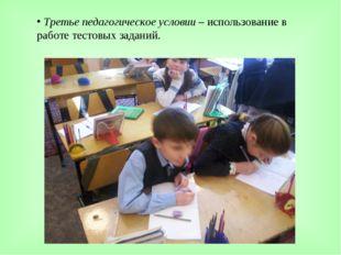 Третье педагогическое условии – использование в работе тестовых заданий.