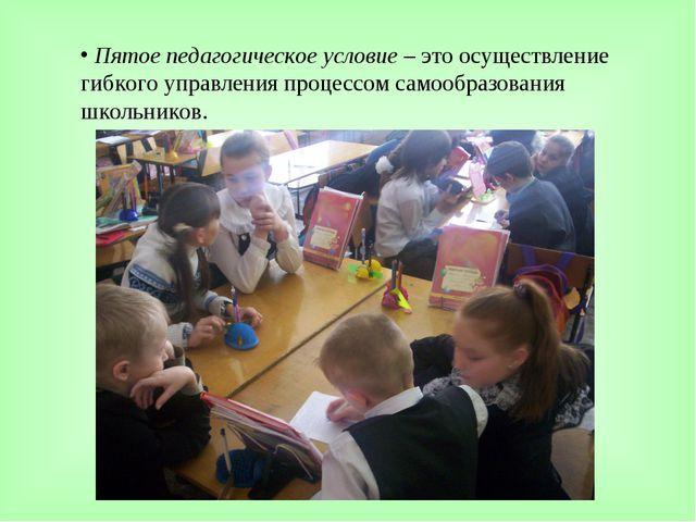 Пятое педагогическое условие – это осуществление гибкого управления процессо...