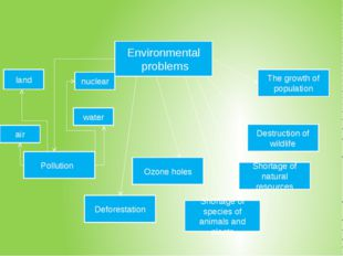 Environmental problems Shortage of natural resources The growth of populatio