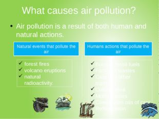 What causes air pollution? Air pollution is a result of both human and natura