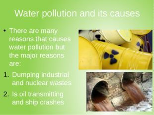 Water pollution and its causes There are many reasons that causes water pollu