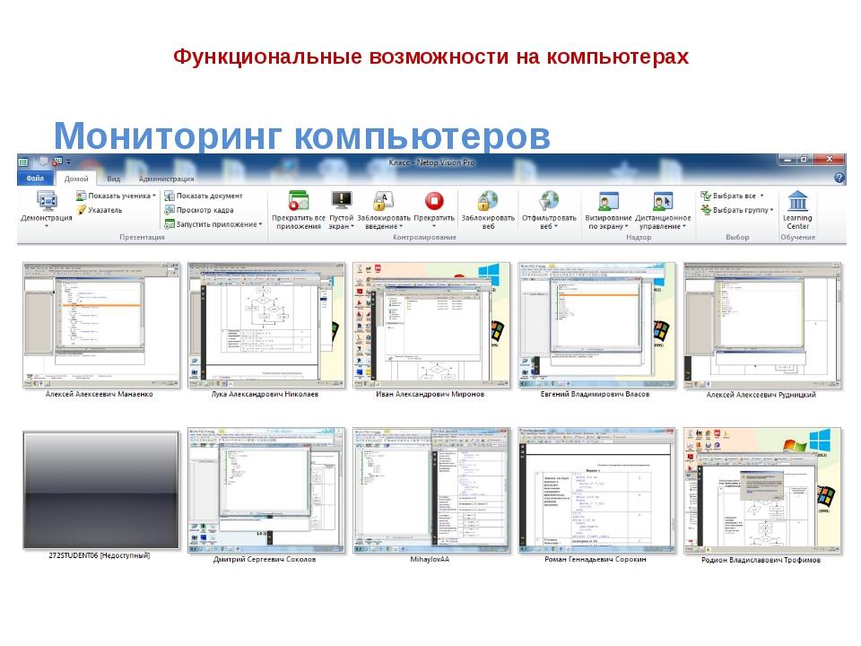 Функциональные возможности на компьютерах Мониторинг компьютеров