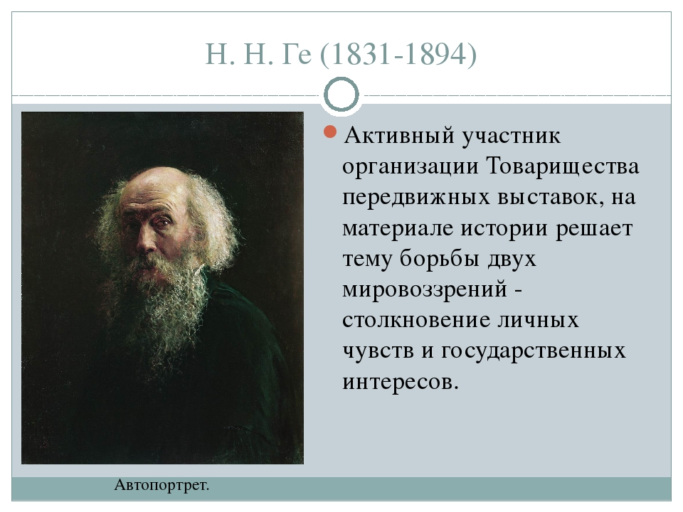 Н. Н. Ге (1831-1894) Активный участник организации Товарищества передвижных в...