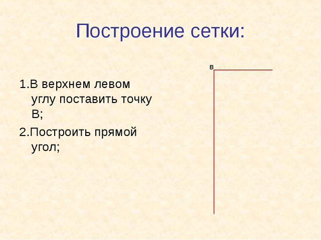 Построение сетки: 1.В верхнем левом углу поставить точку В; 2.Построить прямо...