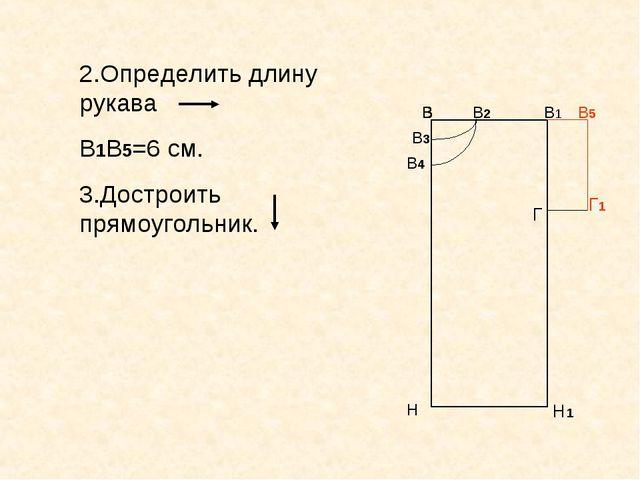 В В1 Н Н1 В В В2 В3 В Н В В В4 Г 2.Определить длину рукава В1В5=6 см. 3.Достр...