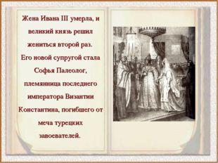 Жена Ивана III умерла, и великий князь решил жениться второй раз. Его новой с