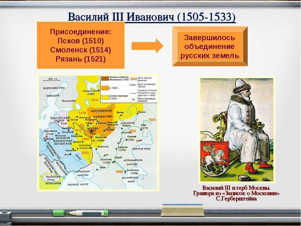 Василий III Иванович (1505-1533) Присоединение: Псков (1510) Смоленск (1514)...