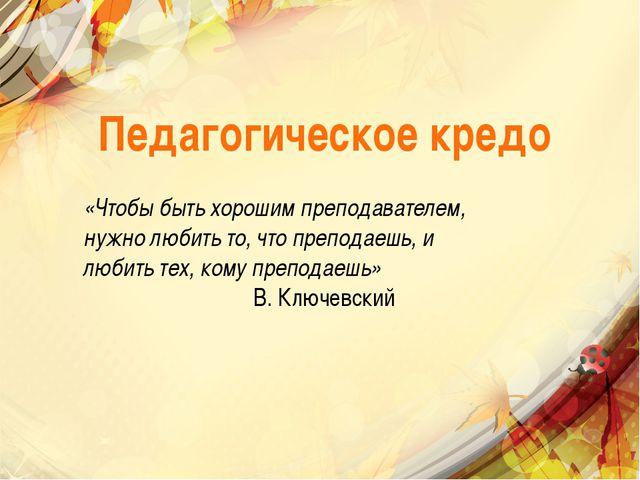 Педагогическое кредо «Чтобы быть хорошим преподавателем, нужно любить то, что...