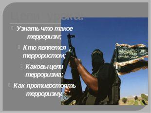Цели урока: Узнать что такое терроризм; Кто является террористом; Каковы цели