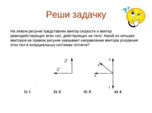 Реши задачку На левом рисунке представлен вектор скорости и вектор равнодейст
