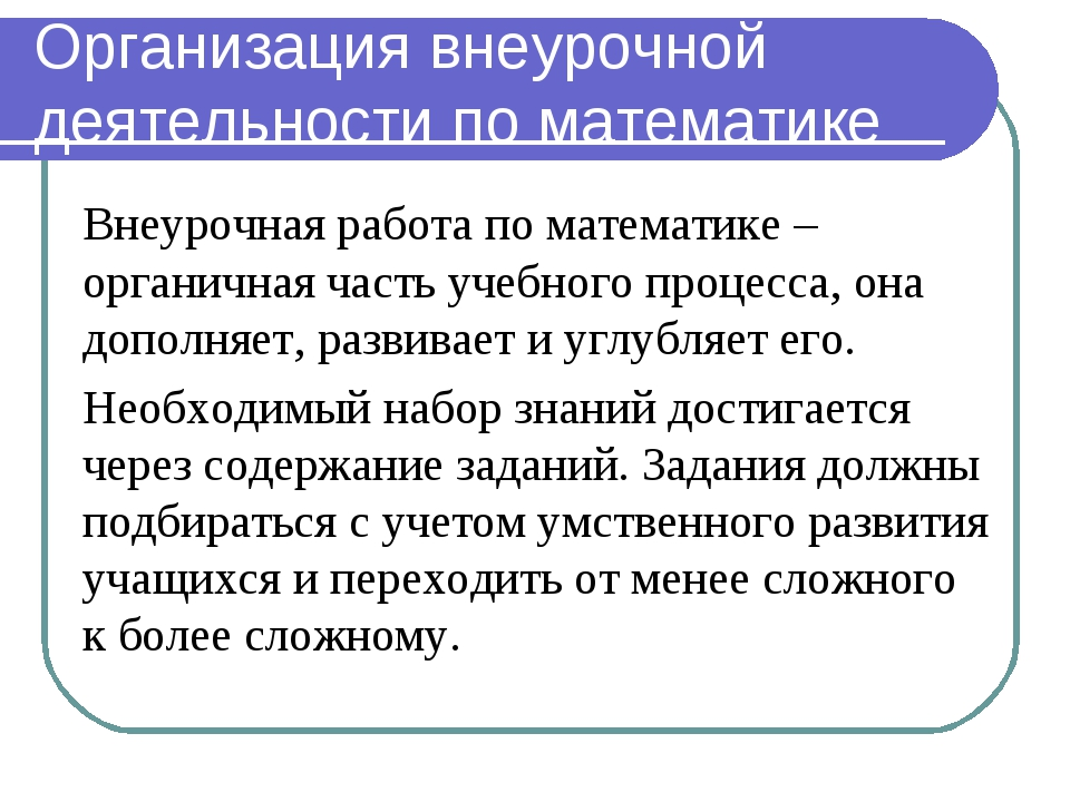 Организация внеурочной деятельности по математике Внеурочная работа по матема...