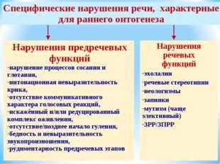 Нарушения предречевых функций нарушение процессов сосания и глотания, интонац