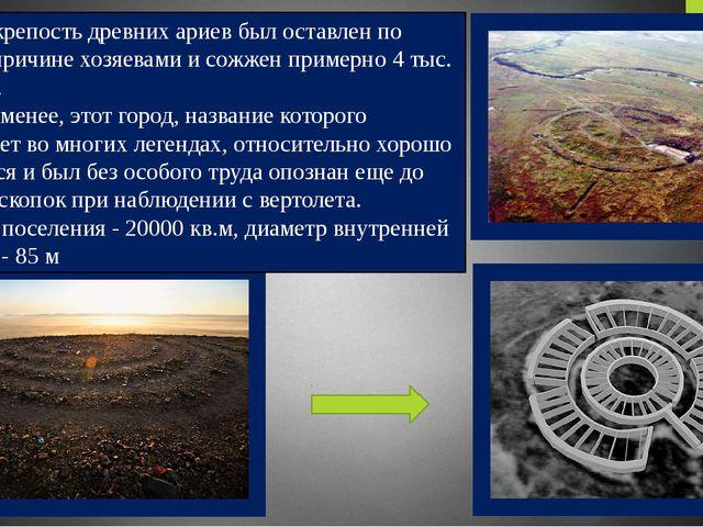 Город-крепость древних ариев был оставлен по неясной причине хозяевами и сож...