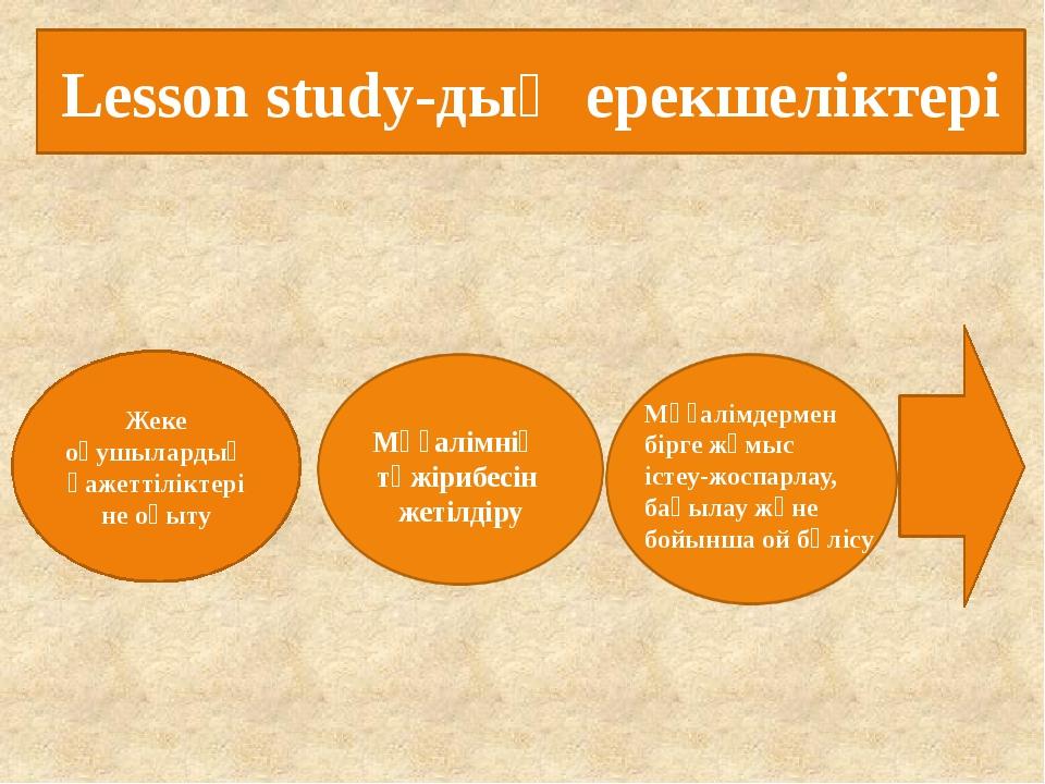 Lesson study-дың ерекшеліктері Жеке оқушылардың қажеттіліктеріне оқыту Мұғалі...