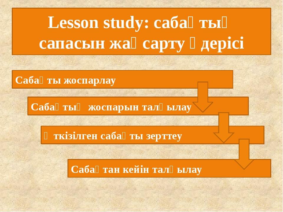 Lesson study: сабақтың сапасын жақсарту үдерісі Сабақты жоспарлау Сабақтың жо...
