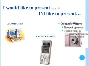 I would like to present … = I'd like to present… A COMPUTER