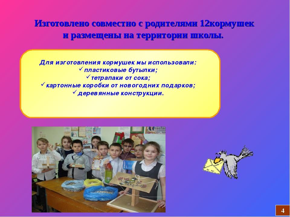 Изготовлено совместно с родителями 12кормушек и размещены на территории школы...