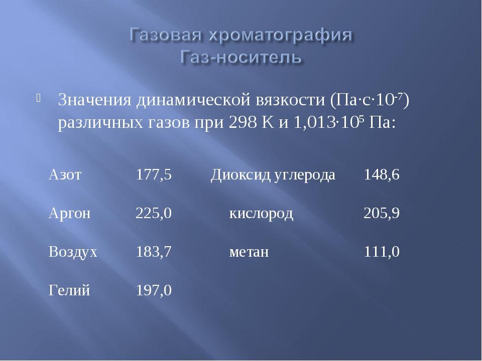 Значения динамической вязкости (Па∙с∙10-7) различных газов при 298 К и 1,013∙...