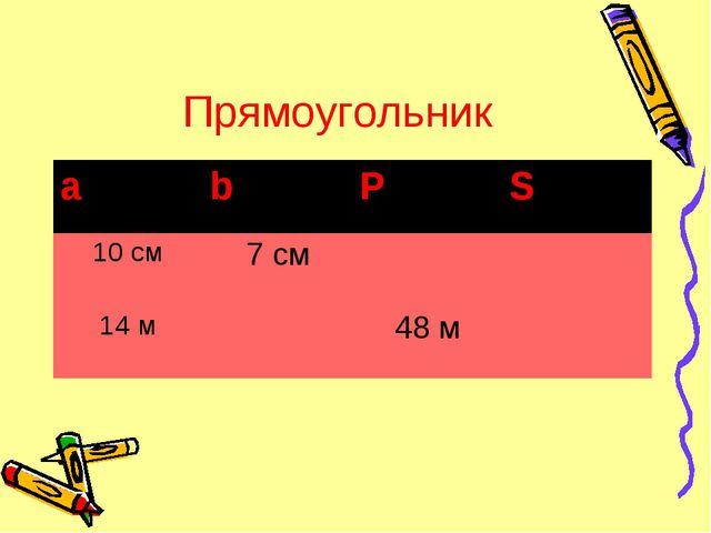 Прямоугольник аbPS 10 см7 см 14 м48 м