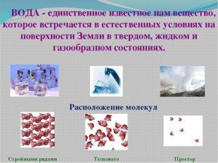ВОДА - единственное известное нам вещество, которое встречается в естественны