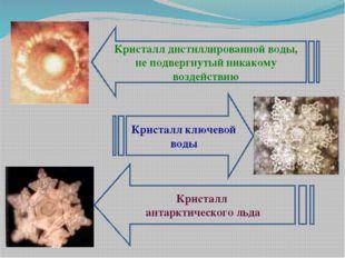 Кристалл дистиллированной воды, не подвергнутый никакому воздействию Кристалл