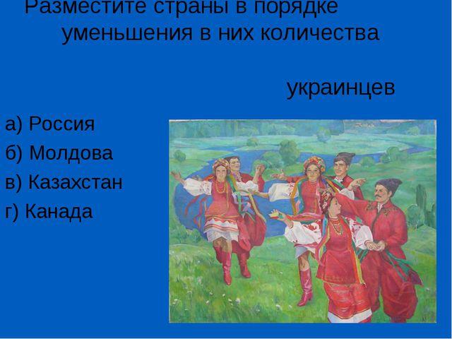 Разместите страны в порядке уменьшения в них количества украинцев а) Россия б...