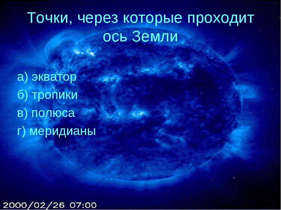 Точки, через которые проходит ось Земли а) экватор б) тропики в) полюса г) ме...