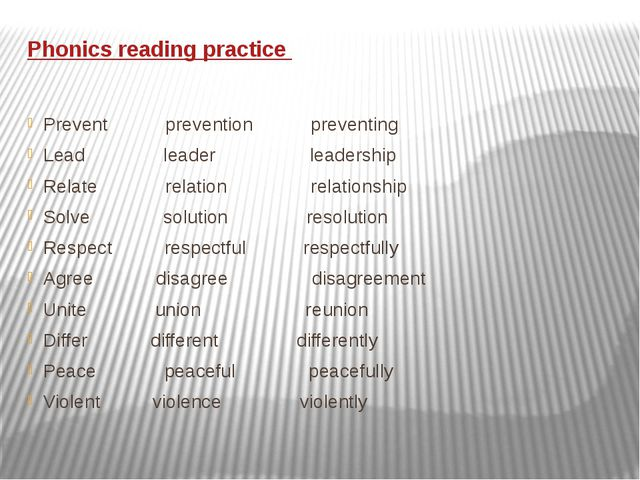 Phonics reading practice Prevent prevention preventing Lead leader leadership...