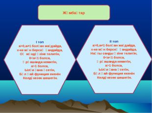Жұмбақтар І топ а>0,а≠1 болған жағдайда, х-ке мән берсең қандайда, Оң мәнді ө