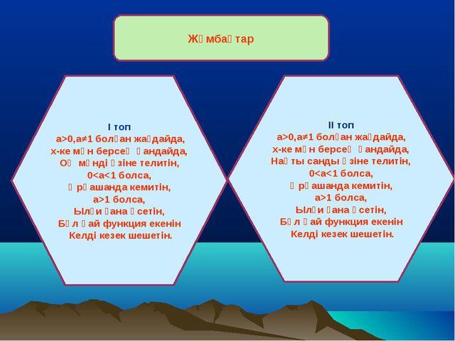 Жұмбақтар І топ а>0,а≠1 болған жағдайда, х-ке мән берсең қандайда, Оң мәнді ө...