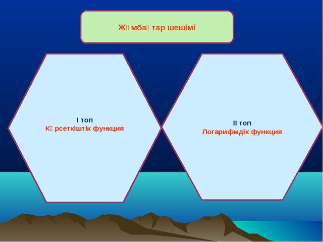 Жұмбақтар шешімі І топ Көрсеткіштік функция ІІ топ Логарифмдік функция